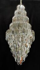 HUGE 5' MID CENTURY MODERN MURANO GLASS CRYSTAL VENINI PRISM FOYER CHANDELIER