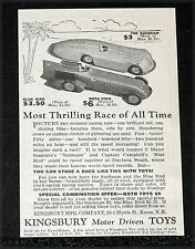 1928 OLD MAGAZINE PRINT AD, KINGSBURY MOTOR DRIVEN TOYS, BLUE BIRD AND SUNBEAM!