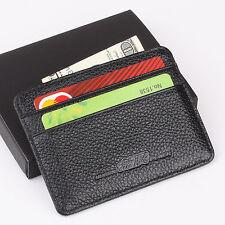 MUGEN HONDA Slim Mini Wallet Genuine Cow Leather Credit Card Case Men Holder ID