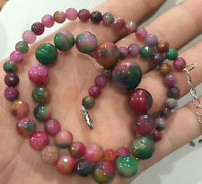 Faceted 6-14mm Multicolor Jade Round Gems Beads Necklace 18""
