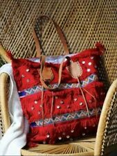 NEW FREE PEOPLE  Z & L WOMEN'S RED GRANADA TOTE BAG WOOL & LEATHER PURSE NWT