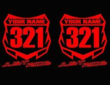 MOTOCROSS NUMBER PLATE DECAL STICKER CUSTOM NAME # MX MOTO KAWASAKI KX YZ CR KTM
