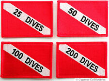 LOT 4 EMBROIDERED SCUBA FLAG PATCH 25 50 100 200 DIVES IRON-ON DIVER EXPERIENCE
