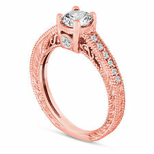 14K Rose Gold Diamond Engagement Ring 0.55 Carat Vintage Antique Style Engraved