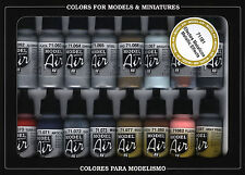 Vallejo #71181 Model Air Paint Set - Metallic Effects Colors (16 x 17ml)