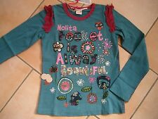 (166) Nolita Pocket Girls Langarm Shirt + Logo Stickerei + Druck & Besatz gr.92