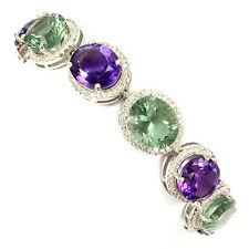 Sterling Silver 925 Genuine Natural Amethyst & Flourite Bracelet 7 Inches