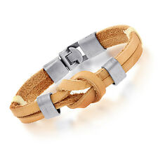 Authentic Tera Jewelry Tribal Leather Wristband Surf Tan Mens Bracelet