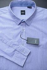 NWT HUGO BOSS MEN'S SLIM FIT SPREAD COLLAR LIGHT PURPLE STRIPED COTTON SHIRT XL