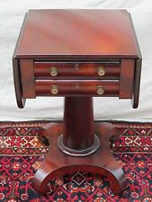 EARLY 19TH CENTURY EMPIRE 2 DRAWER MAHOGANY WORK TABLE WITH OGEE FORMED BASE