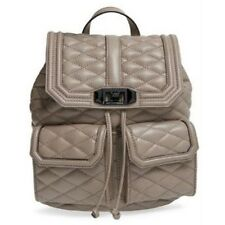 REBECCA MINKOFF Love Backpack SANDSTONE Beige Purse Leather Black CHAIN NWT $355