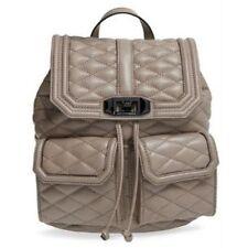 REBECCA MINKOFF Love Backpack SANDSTONE Beige Purse Leather Black CHAIN NWT $355