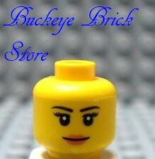 NEW Lego Female Minifig HEAD Serious Determined but Plesant Look