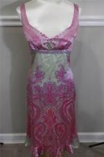 Plenty TRACY REESE PAISLIES silk pink/green paisley dress size 8 (DR400)