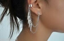 Pair Silver Spike Spikes Cartilage Ear Cuff Stud Piercing Dangle Earrings