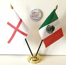 England & Mexico Double Friendship Table Flags & Badge Set