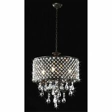 Round 4-light Antique Bronze Crystal Chandelier Pendant