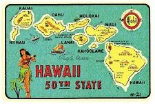 Hawaii -50th State- Vintage-StyleTravel Decal/Sticker