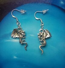 * Dragons * vintage silver dangle studs earrings  kitsch goth steam punk