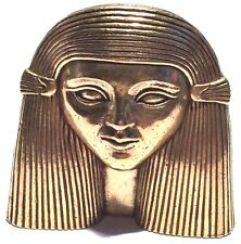 SIGNED VINTAGE LARGE EGYPTIAN REVIVAL SPHINX SCULPTURE GOLD TONE BROOCH PIN