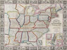 GEOGRAPHY MAP ILLUSTRATED ANTIQUE PHELPS USA LARGE POSTER ART PRINT BB4463A