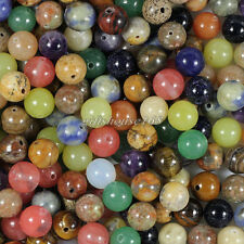 100pcs Mixed Natural Nature Stone Gemstone Round Spacer Loose Beads 8mm