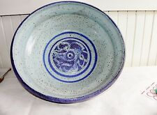 Vintage Hand Thrown Studio Pottery Dough Mixing Bowl Signed Blue Large 13.5""