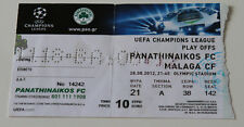 Ticket for collectors CL Panathinaikos Athens Malaga CF 2012 Greece Spain