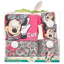 Disney Minnie Mouse Baby Girl Leopard Layette Bodysuit Pants Bib Gift Set 0-6M
