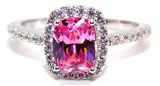Sterling Silver Pink Sapphire And Diamond 1.89ct Ring (925) Size 7 (N)