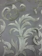 White Fire Flame With Mesh Backing Elegant Lace Fabric Sold By The Yard