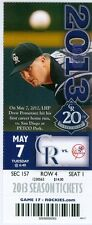 2013 Rockies vs Yankees Ticket:  Carlos Gonzalez 2 Run HR/Jorge De La Rosa Win