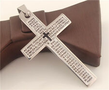 1pc Stainless Steel Christian Holy Bible Scriptures Cross Unisex Pendant