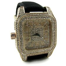 Hip Hop Watch Rose Gold Plated Iced-Out Mens Roman Numerals Cz Big Bling Case