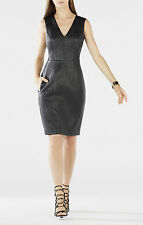 BCBG MAX AZRIA LIVIE QUILTED FAUX LEATHER BLACK DRESS Size 4 New With Tag $ 338