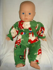"""CHRISTMAS Green furry soft Rompers. Fit  Baby Born/Annabel16/18"""" Doll"""