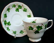 1990's Colclough Ivy Leaf Pattern Early Shape Tea Cups & Saucers - Look in VGC