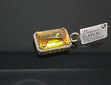 10K Yellow Gold Cushion Cut Canary Diamond Look Charm/ Pendant With Diamonds