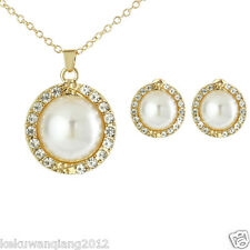 Bridal Jewellry Gold Plated Round Big Pearl & Crystal Bib Necklace+Earrings Set