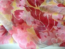 "NEW Italian 100% Silk Crinkle Chiffon Floral Print Fabric 56""143cm Dress Scarf D"