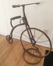1800's Childrens Childs Penny Farthing Big Wheel Bicycle And Stand Rare