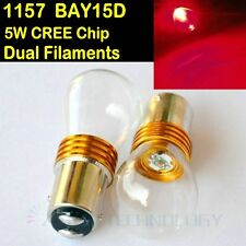 2x BAY15D 1157 380 RED COLOR CREE Q5 1-SMD LED 5W STOP TAIL DUAL FILAMENT 12V DC