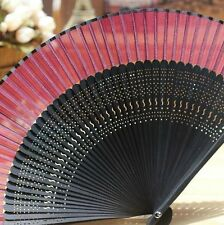 Chinese Japanese Folding Clear Red Silk Hand Bamboo Asian Pocket Fan Flower