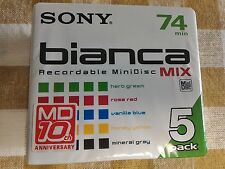Japan Sony Bianca MD74 Blank Mini Disc 74 Minutes Recordable 5 pack