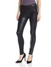 HUE L Black Ponte Leatherette Blocked Leggings NWT  (Location 1073C-95)