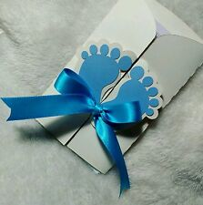 10 Baby Shower invitations cards personalized for boy with Feet design