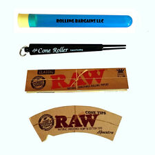 The Cone Roller (Black) + Raw King Rolling Paper + Hemp Cone Tips- Roll your own