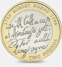 "£ 2 coin - ""auld lang syne"" robert burns 1759 1796-rare-collection-livre"