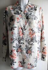 TALBOTS PETITES NANTUCKET FLORAL POCKETED CREPE PEASANT BLOUSE SZ SP