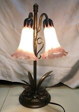 Unique Brass Lily Lamp With Two Lights Mauve And White Mottled Glass Shades